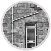 Round Beach Towel featuring the photograph Pipes And Doorway by Christi Kraft