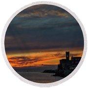 Round Beach Towel featuring the photograph Piran Slovenia Sunset #2 by Stuart Litoff