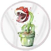 Piranha Plant Watercolor Round Beach Towel