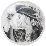Pirate Mikey Portrait Drawing Round Beach Towel by Shelley Overton
