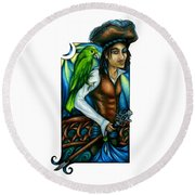 Pirate With Parrot Art Round Beach Towel
