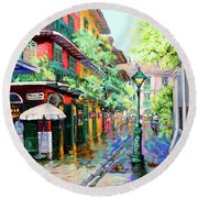 Round Beach Towel featuring the painting Pirates Alley - French Quarter Alley by Dianne Parks
