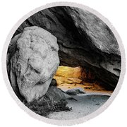 Pirate's Cave, Black And White And Gold Round Beach Towel
