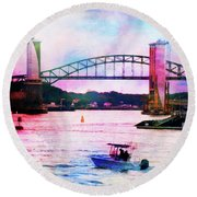 Piscataqua River Bridge From Harborwalk Park, Portsmouth New Hampshire Round Beach Towel