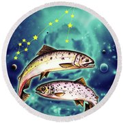 Pisces In The Sky Round Beach Towel
