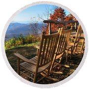 Pisgah Inn's Rocking Chairs Round Beach Towel