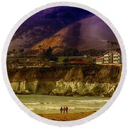 Pismo Beach Cove Round Beach Towel by Joseph Hollingsworth