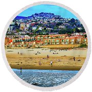 Round Beach Towel featuring the photograph Pismo Hilltop Ocean View by Joseph Hollingsworth