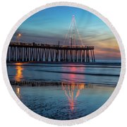 Pismo Pier Lights Round Beach Towel