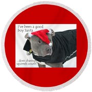 Pit Bull Christmas Two Round Beach Towel