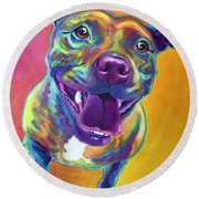 Pit Bull - Rainbow Round Beach Towel