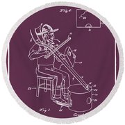 Pitch Fork Fiddle And Drum Patent 1936 - Red Round Beach Towel