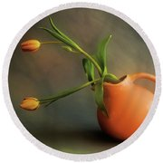 Pitcher Of Blooms Round Beach Towel