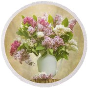 Pitcher Of Lilacs Round Beach Towel
