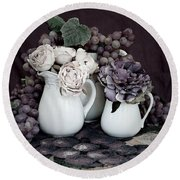 Round Beach Towel featuring the photograph Pitchers And Tapestry by Sherry Hallemeier