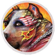 Round Beach Towel featuring the pastel Pit Bull by Patricia Lintner