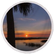 Pitt Street Bridge Palmetto Sunset Round Beach Towel