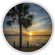 Pitt Street Bridge Palmetto Tree Sunset Round Beach Towel
