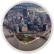Pittsburgh 8 In Color  Round Beach Towel