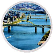 Pittsburgh At The Point Round Beach Towel