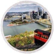 Pittsburgh From Incline Round Beach Towel