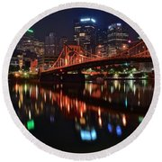 Pittsburgh Lights Round Beach Towel by Frozen in Time Fine Art Photography