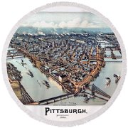 Pittsburgh Pennsylvania 1902 Round Beach Towel