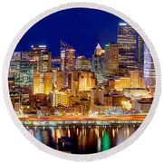 Pittsburgh Pennsylvania Skyline At Night Panorama Round Beach Towel