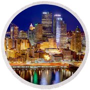 Pittsburgh Pennsylvania Skyline At Night Panorama Round Beach Towel