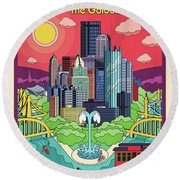 Pittsburgh Pop Art Travel Poster Round Beach Towel