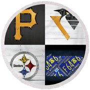 Pittsburgh Sports Team Logo Art Plus Pennsylvania Map Pirates Penguins Steelers Round Beach Towel