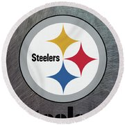 Pittsburgh Steelers On An Abraded Steel Texture Round Beach Towel