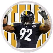 Pittsburgh Steelers Round Beach Towel by Stephen Younts