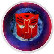 Pixeled Autobot Round Beach Towel