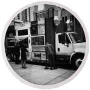 Pizza Oven Truck - Chicago - Monochrome Round Beach Towel by Frank J Casella