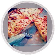 Round Beach Towel featuring the photograph Pizza by Raymond Earley