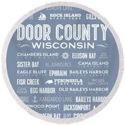 Round Beach Towel featuring the digital art Places Of Door County On Light Blue by Christopher Arndt