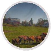 1014 - Plain Road Farm And Cows I Round Beach Towel