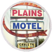 Plains Motel Round Beach Towel
