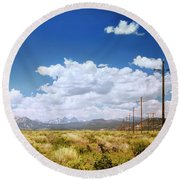 Plains Of The Sierras Round Beach Towel