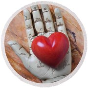 Plam Reader Hand Holding Red Stone Heart Round Beach Towel