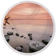 Plane And Colors Round Beach Towel