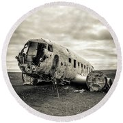 Round Beach Towel featuring the photograph Plane Crash Iceland by Edward Fielding