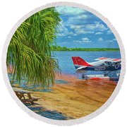 Plane On The Lake Round Beach Towel by Lewis Mann