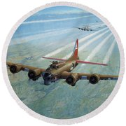 Round Beach Towel featuring the photograph Plane by Test