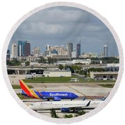 Planes By Fort Lauderdale Round Beach Towel