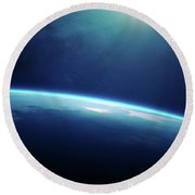 Planet Earth Sunrise From Space Round Beach Towel