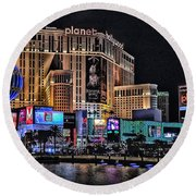 Planet Hollywood And Paris At Las Vegas Round Beach Towel