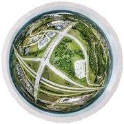 Round Beach Towel featuring the photograph Planet Mukwonago by Randy Scherkenbach