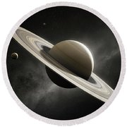 Planet Saturn With Major Moons Round Beach Towel